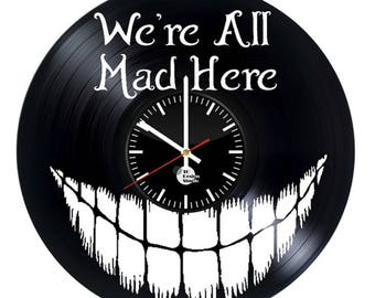 Alice in wonderland smile fictional mad cheshire cat joke handmade vinyl wall clock