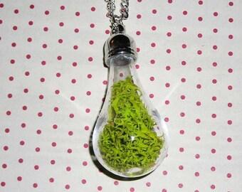 Necklace light moss green (bottle necklace)