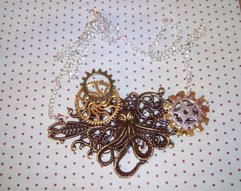 Steampunk Octopus print necklace