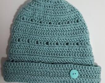 Crocheted light aqua colored hat