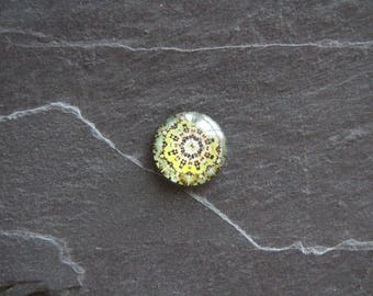 Cabochon 20 mm psychedelic glass green glossy