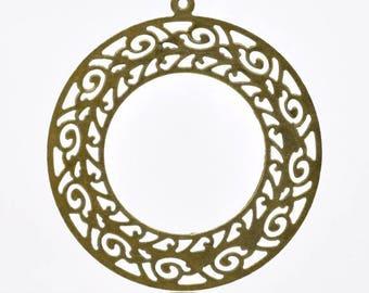 2 round bronze filigree prints