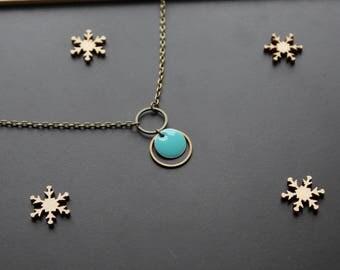 Bronze pendant necklace round turquoise blue sequin