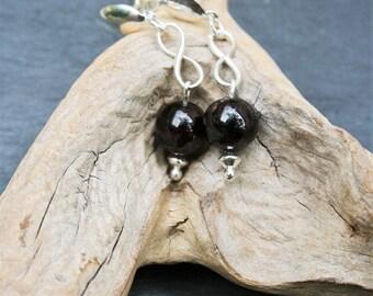 Garnet Silver earrings 925, infinity symbol