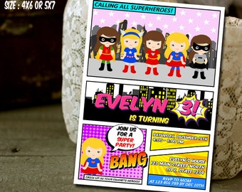 Girl Super Hero Invitation, Girl Super Hero Birthday, Girl Super Hero Party, Girl Power Invitation,Girl Super Hero Printable Birthday Invite