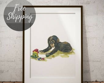 Monkey nursery wall art jungle animal watercolor print Nursery wall decor gender neutral baby gift for baby print nursery pictures on canvas