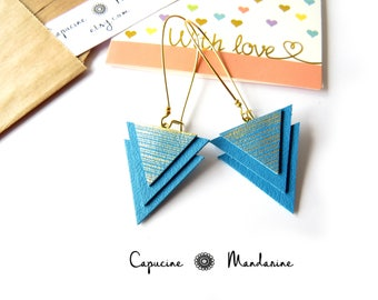 Triangle - gold turquoise leather earrings