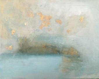 abstract seascape with metallic gold leaf painting not a photo print