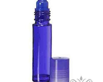 144 pc. (1 gross)  BLUE Glass ROLL ON Bottles/ Matching Cap. Wholesale Perfume Essential Aromatherapy attar Body oil Spa Message Soap Craft