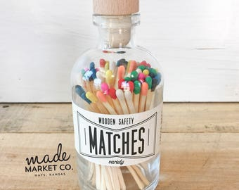 Variety Tip Colored Matches. Match Sticks Decorative Glass Bottle. Farmhouse Home Decor. Unique Gifts for her. Best Seller Most Popular Item