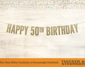 Happy 50th Birthday Banner, Block Letters - Birthday Banner, 50th Birthday Decor, 50th Birthday Banner, Happy 50th