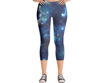 Space Print Galaxy Cloud Solar System Womens Cute Athletic Yoga Black Micro Fiber Fitness Printed Capri Leggings