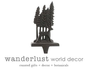 Woodland deer stocking hanger, cast iron, stocking hanger, rustic stocking holder, christmas stocking, metal stocking holder, xmas stocking