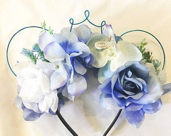 Blue Cinderella Floral Wire Mouse Ears with Wire Crown