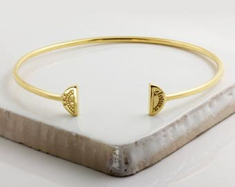 Sun & Moon Bangle - Gold Vermeil
