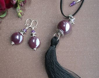 Ceramic beads pendant and earrings.