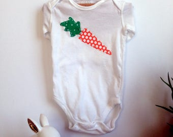 Sweet baby carrot appliqued body suit (multiple sizes available)