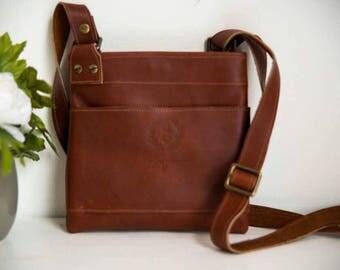Full grain leather cross-body bag