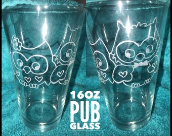 Mr. & Mrs. Owl 16 oz Glass