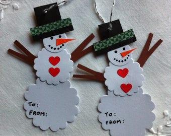"2 beautiful ""snowmen"" cardboard gift tags - tags"