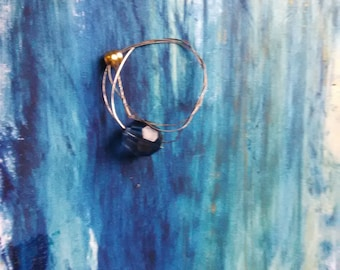 Unique Guitar String Jewelry. Blue Bead Ring. One of a Kind