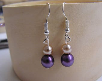 """Earrings Pearl Pink and plum pearls """"wedding ceremony"""""""