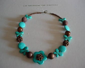 Spring necklace in turquoise and Brown beads