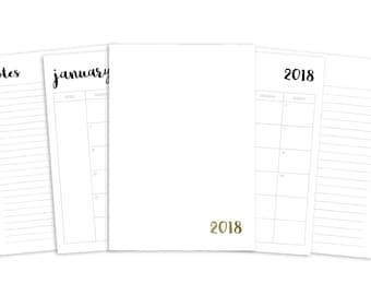 B6 2018 Monthly Printable Insert - TN - Plain Cover