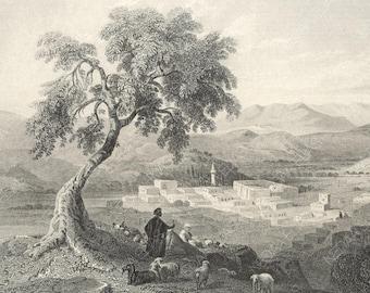 Nazareth looking towards the Plain of Esdraelon, Palestine 1847 - Old Antique Vintage Engraving Art Print - Shepherd, Sightseeing, Mosque