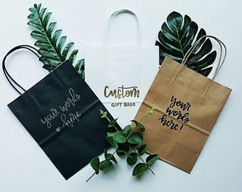 Custom Embossed Hand-Lettered Gift Bags