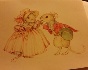 Vintage Greeting Card - Christmas Greeting Card - American Greetings - Tiny Talk Mice Dancing at Christmas Party