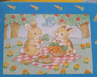 Vintage Greeting Card - Current Blank Card  -Sharon Sandner Cartwright  - Pal-Around Friends - Bunnies Having a Picnic