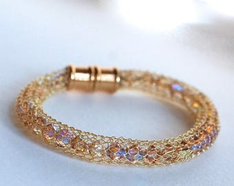 Wire Knit Swarovski Crystal Bracelet
