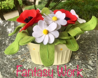 Yellow Polka dot Metal basket with poppies and felt daisies