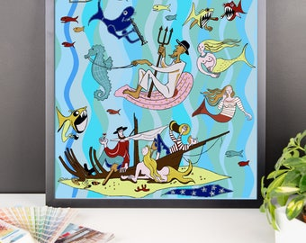 Sea Mural Poster - Florida Artist Poster- Sarasota Florida Ringling Hotel Remembering the M'Toto Room Framed poster