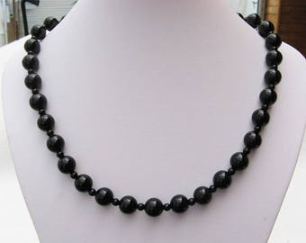 Black agate - 10 mm and 4 mm beads - gemstones necklace