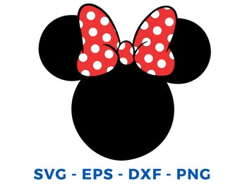 Minnie Mouse Head SVG DXF Png Vector Cut File Cricut Design Silhouette Cameo Vinyl Decal Disney Party Stencil Template