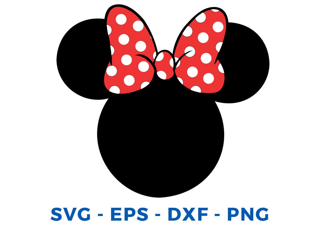 minnie mouse head svg dxf png vector cut file cricut design. Black Bedroom Furniture Sets. Home Design Ideas