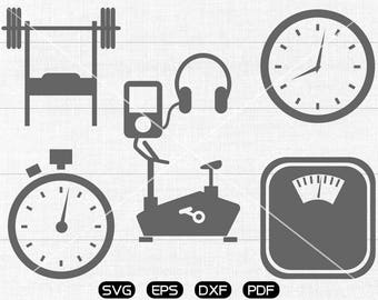 Gym svg Files, Barbell, Stopwatch, Weighing scale, Fitness, Workout Clipart, cricut, cameo, silhouette cut files commercial & personal use