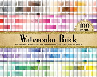 100 Watercolor Brick Papers 12 inch,300 Dpi Planner Paper,Commercial Use,Scrapbook Paper,Rainbow Paper,100 Brick Papers,Watercolor