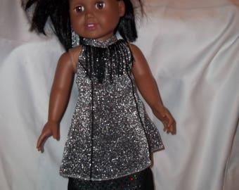 "18"" doll Silver/Black dress 391E"