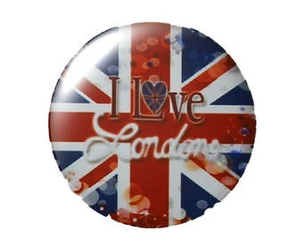 Set of 2 England round glass cabochons 30mm
