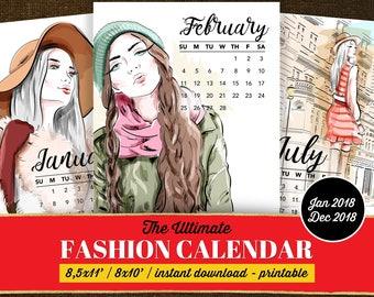 Fashion Calendar 2018, Fashion Wall Calendar, Wall Calendar 2018 Monthly, Calendar 2018 Printable, Printable Calendar 2018, Calendar 2018