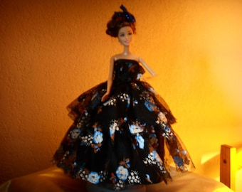 Doll clothes black cocktail dress and tulle painted DECLAWED precious fabric handmade roses