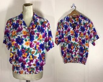 Vintage 80s Shirt // Vintage 80s Floral Button Up Blouse // 1980s Floral Top // Vintage Clothing
