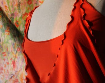 "Dress ""Calla"" duo and orange tank top - jersey viscose (made to order)"