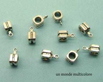 10 bails shape 13 x 7 mm antique silver metal