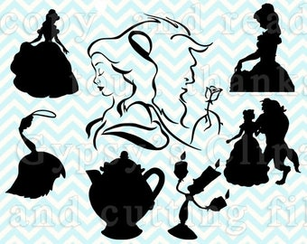 Beauty and the Beast SVG, Belle svg, Disney Princess svg files for silhouette or cricut, dxf, clipart, cut file