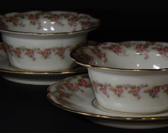 LIMOGES, Elite Works Antique Limoges Bridal Wreath, Ramekin and Underneath Plate, Made in France, 2 sets, delicate pink rose swags, greenery