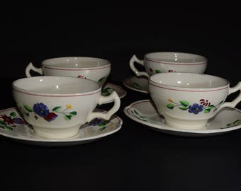AMAZING George Jones and Sons China, 1921-1951, CRESCENT Ivory and sons, embossed,Tea Cup and Saucer Set, 8 pc, Bone China, England, vintage